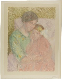 mother and blonde child whose hand is on her cheek by mary cassatt