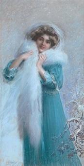 elegant lady with white stola by delphin enjolras
