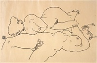 two reclining nudes by egon schiele