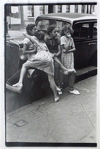 n.y.c (4 girls leaning against car) by helen levitt