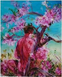 peach tree & woman by zhou chunya