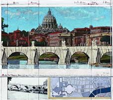 ponte sant´angelo, wrapped, project for rome by christo and jeanne-claude
