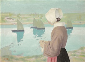 knitting woman with boats by carl moser