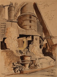 crucible at the bessemer converter, bethlehem steel, pittsburgh by thomas hart benton