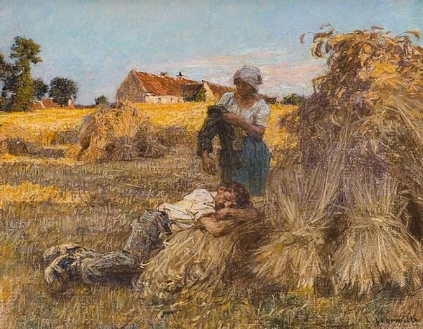repos, effet de grand soleil, moisonneur endormi, mezy by léon augustin l'hermitte