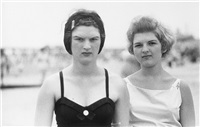 two girls on the beach, coney island, n.y. by diane arbus