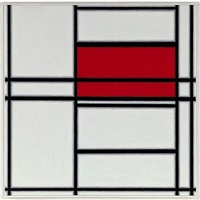 piet mondrian, 'composition, red-white', 1938, first state of 'composition #4 red-blue', 1938-1942 by richard pettibone