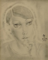 head of a young girl by léonard tsuguharu foujita
