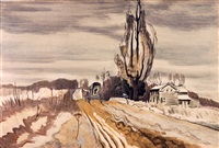 horse and carriage passing farmhouse by charles ephraim burchfield