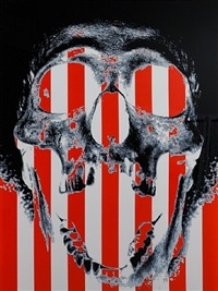 skull with red & white stripes by scott campbell