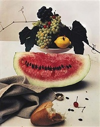still life with watermelon, ny by irving penn