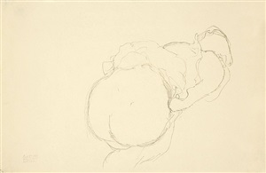 female semi-nude turned to the right by gustav klimt