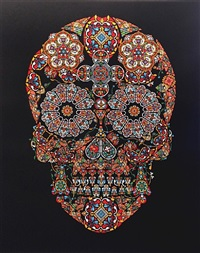 stained glass skull by jacky tsai