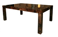 an aldo tura lacquered parchment dining table. by aldo tura