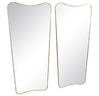 pair of gio ponti brass framed mirrors, 'le bristol' by gio ponti