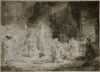 the hundred guilder print (christ healing the sick) by rembrandt van rijn