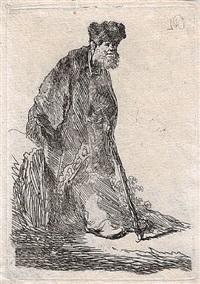 man in cloak & fur cap, leaning against a bank by rembrandt van rijn