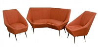 set of italian angular upholstered sofa and chairs, in the manner of gio ponti by gio ponti
