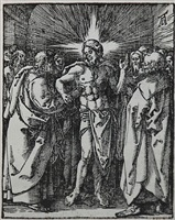 the doubting thomas or christ appearing to the apostles (the small passion) by albrecht dürer