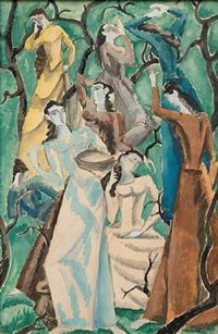 women in garden by max weber