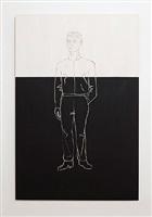 man on black and white background by stephan balkenhol