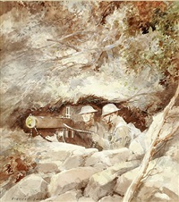 two soldiers with machine gun by everett shinn