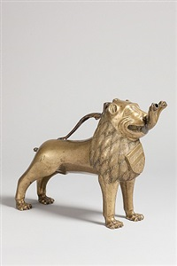 lion aquamanile with double-headed serpent by unknown