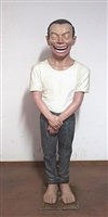 man standing by yue minjun