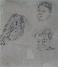 studies of madame cézanne and his son petit paul by paul cézanne