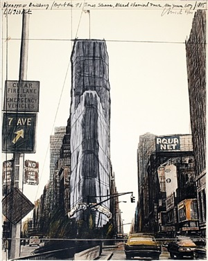 wrapped building/project for building #1 times square, allied chemical tower, new york by christo and jeanne-claude