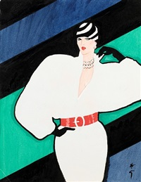 woman in a white dress: design for the cover of international textiles magazine by rené gruau