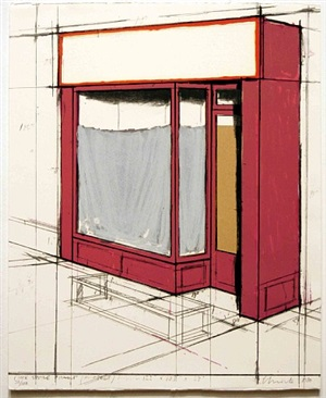 pink store front, project, from marginalia: hommage to shimizu by christo and jeanne-claude