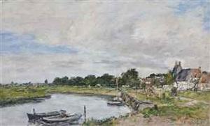 le vieux port de touques by eugène boudin