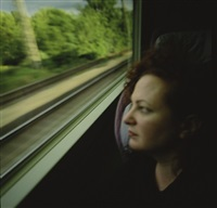 self-portrait on the train, boston - new haven by nan goldin