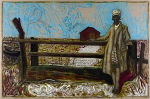 woman leaning against handmade gate by billy childish