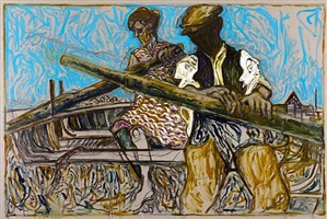 rowers (version y) (oyster catchers, thames estuary 1932) by billy childish