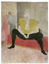 la clownesse assise (the seated clowness) by henri de toulouse-lautrec