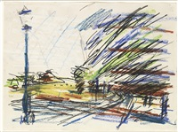 urban landscape with coloured chalk by frank auerbach