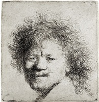 self-portrait with long bushy hair by rembrandt van rijn