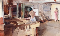 the old mill studio by william russell flint