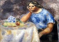 femme accoudée by roger bissière