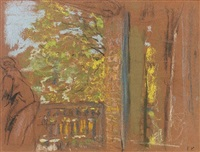 the balcony at the closerie des genets, vaucresson by edouard vuillard