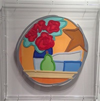 still life with four roses and pear by tom wesselmann