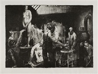 the life class, second stone (the model, life class) by george wesley bellows