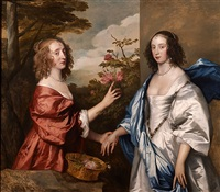 the cheeke sisters; essex, countess of manchester (d.1658) and anne, lady rich (d. c.1655) by sir anthony van dyck