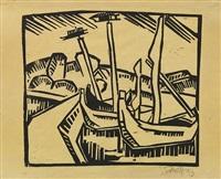 schiffe im hafen by karl schmidt-rottluff