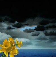 daffodils and cloudy sky by bruce cohen