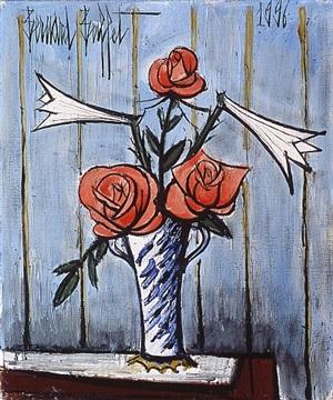 roses rouges et lys by bernard buffet