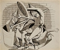 study for the gladiators by philip guston