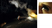 11:45 pm, griffith park and eye #4 (roadside victim) (diptych) by alex prager